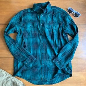 Faded Glory Green Button Down Flannel Size M